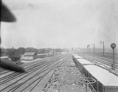 2010.030.CC.023--lee hastman collection cabinet card--PCC&StL CTT--view showing tracks south of Western Avenue--Brighton Park IL--c1903 0000