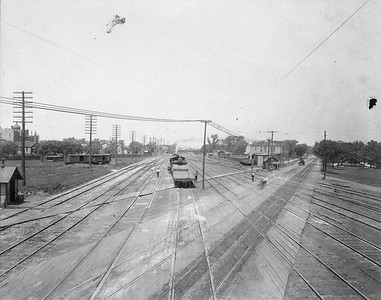 2010.030.CC.019--lee hastman collection cabinet card--PCC&StL CTT--view showing Western Ave and tracks to C&A crossing--Brighton Park IL--c1903 0000
