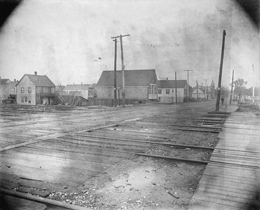 2010.030.CC.013--lee hastman collection cabinet card--PCC&StL CTT--view of 35th Street crossing looking east showing improvements--Brighton Park IL--c1903 0000