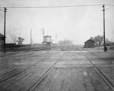 2010.030.CC.018--lee hastman collection cabinet card--PCC&StL CTT--view of tracks at Archer Ave North showing temporary run off at C&A crossing--Brighton Park IL--c1903 0000