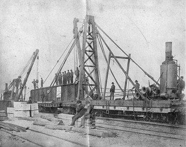 2010.030.CC.002--lee hastman collection cabinet card--PCC&StL CTT--view placing 42-ton 71-foot girder for track elevation project--Brighton Park IL--c1903 0000