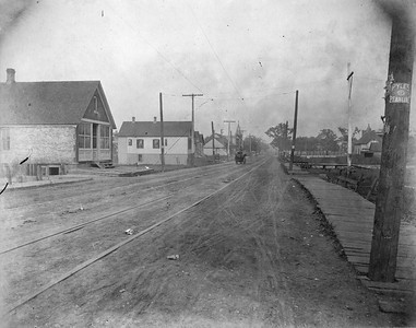 2010.030.CC.014--lee hastman collection cabinet card--PCC&StL CTT--view of 35th Street looking east showing improvements on the north--Brighton Park IL--c1903 0000