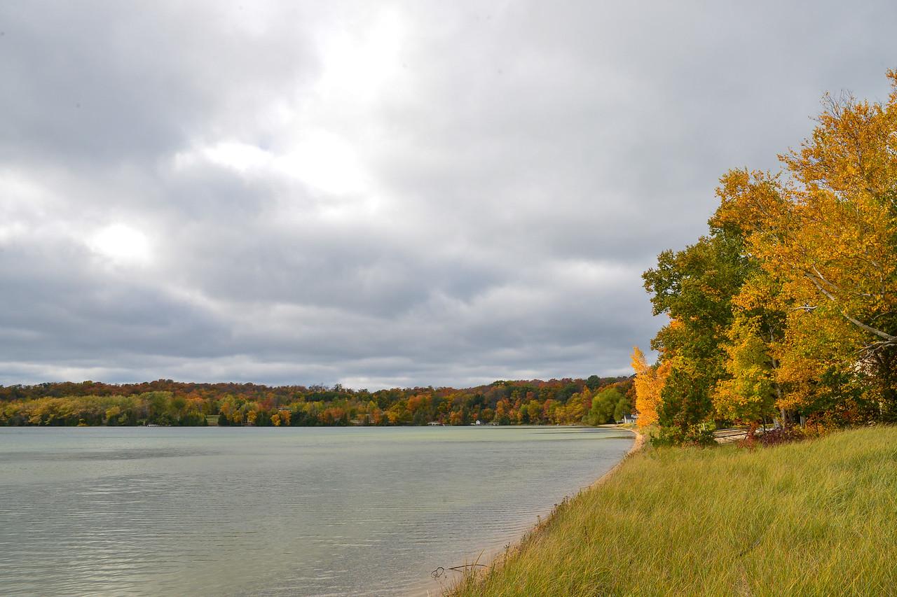 Lake Leelanau with fall colors
