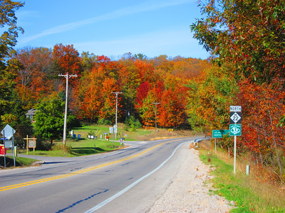 Looking north along M-22, from just south of Leland, MI