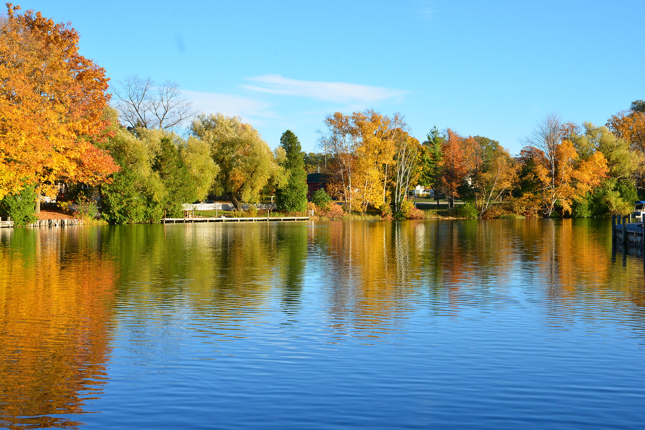 Leland River, fall color, just steps away from M22