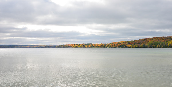 Lake Leelanau with fall colors (M-22 runs through the trees along the side of the lake to the right)