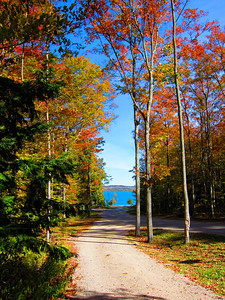 Looking down the road from the Conservancy parking lot to Whaleback, across M-22, on to Lake Leelanau