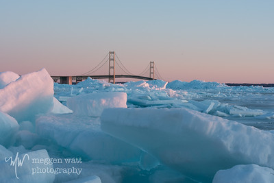 TLR-20180305-5434 Blue ice pushed onto shore near the Mackinac Bridge