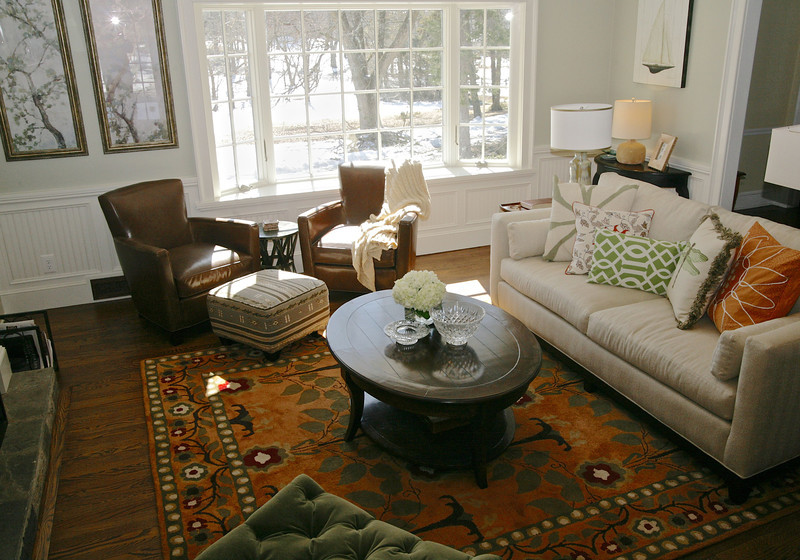 This interesting Surya carpet, Bungalow, unites the space by pulling together all of the colors.