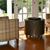 Family Game area and sunroom:  Lee Industries 1367-01 Club Chairs and Oly Metal Drum Table