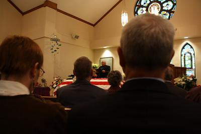 Funeral - Stanley James 12-30-2010. Soloist Bernie Wesloh, accompanist Gloria Wesloh.