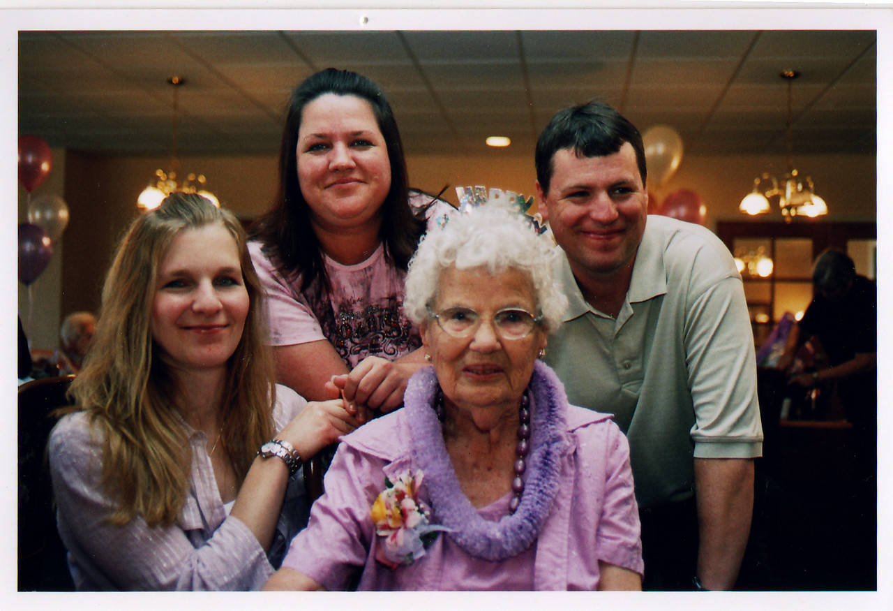 90th BD Party for Lois, with Katie (Matt's wife), Amy, and Matt.