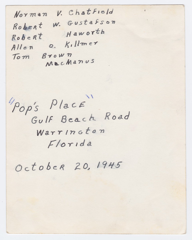 "Labeling of previous picture of guys at ""Pop's Place in Florida"