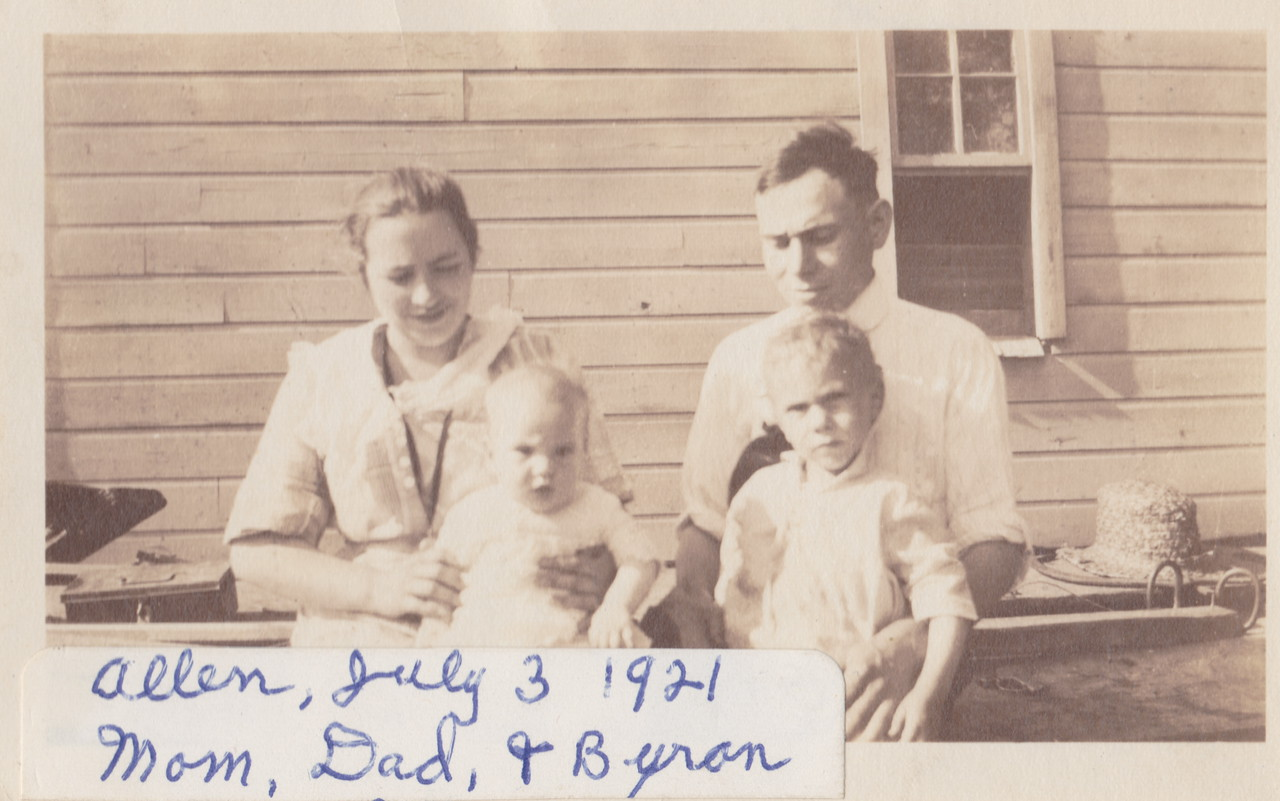 Photo is labeled July 3, 1921, Mary and Lou Killmer, and Allen and Byron.