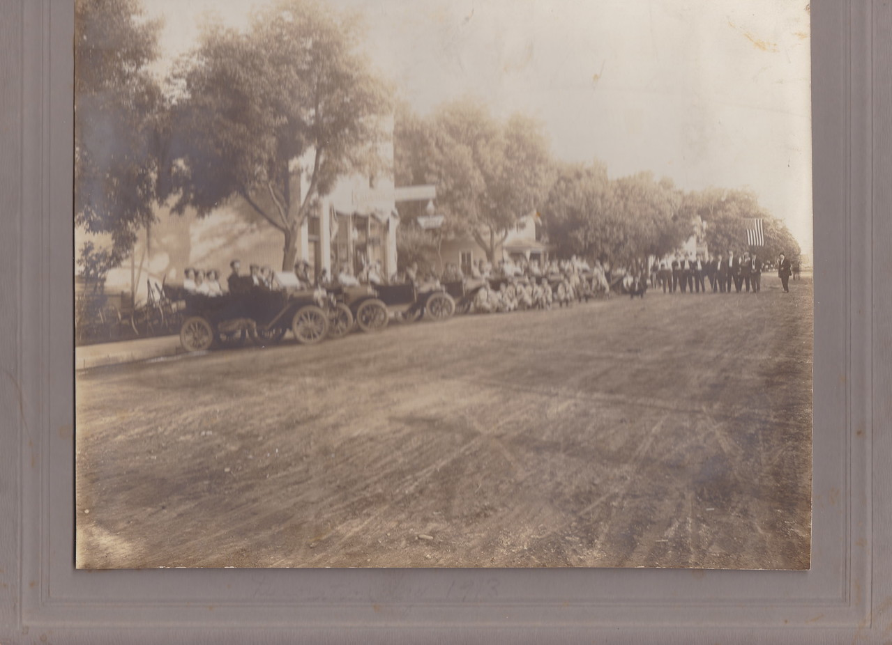Decoration Day 1913 - Osseo Main Street, Osseo Band under flag, Osseo Baseball team