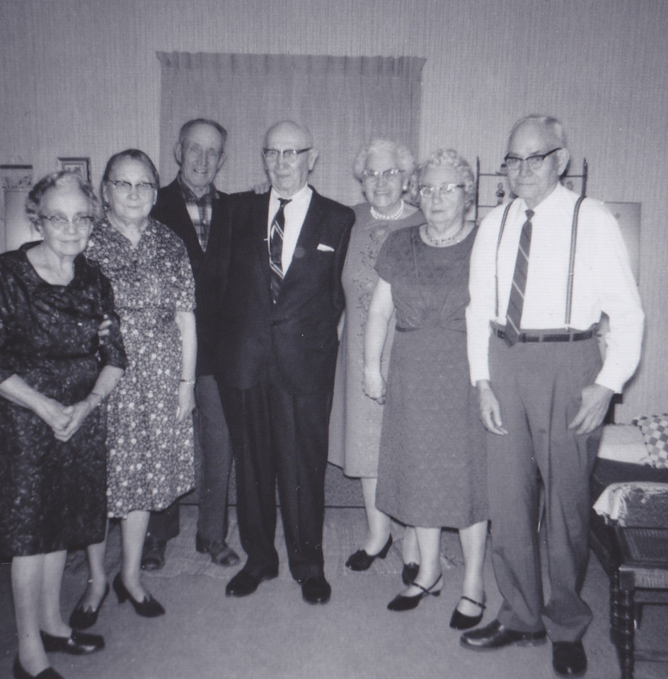 left-Sadie Killmer, Lillian and Dan Robertson, Ed and Mayme Killmer, Mary Dodds and Lou Killmer  1968 photo
