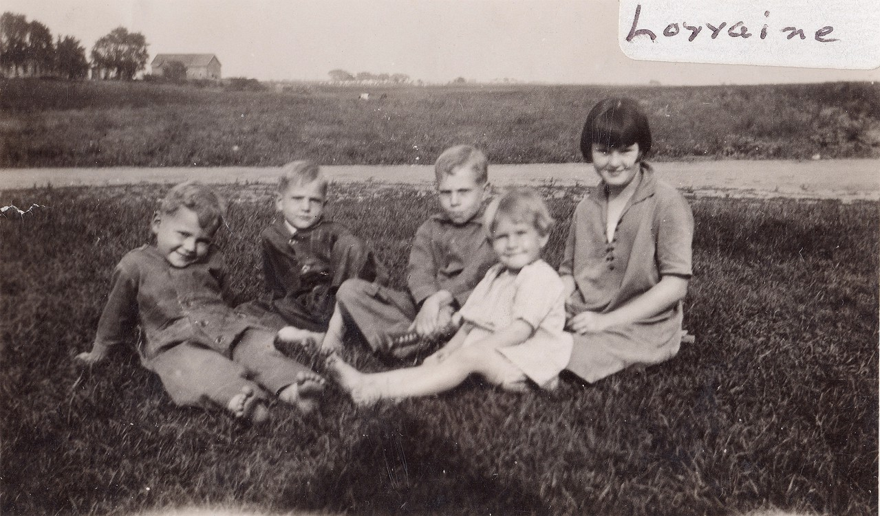 Byron, Allen, Russell, Lorna  w/Lorraine McCory  -  1926  I'd bet this is the House in Osseo, looking East, that farm would be on County Road 30.
