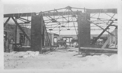 Construction photo, Main Street build of Ed Killmer's Buick Dealership.  1918