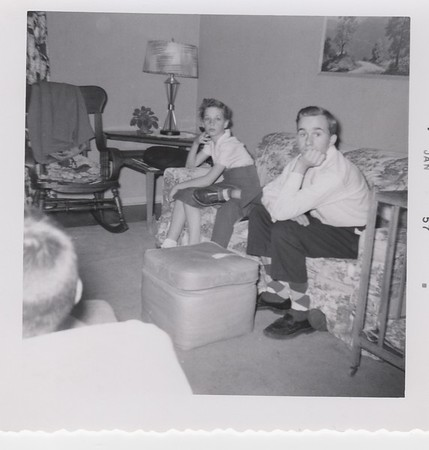 1957  Jean and Dennis Killmer, Gram and Pop's Osseo house.