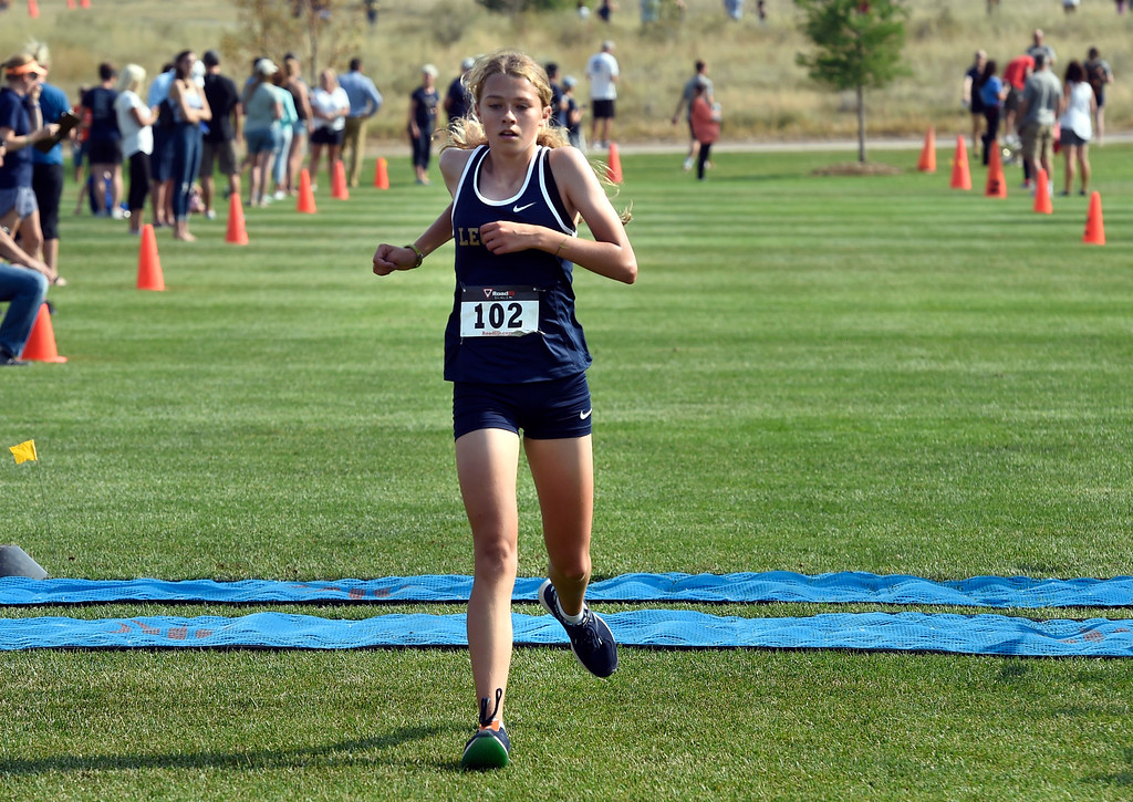 . BROOMFIELD, CO: August 17:  Abby Jones, of Legacy, was second in the 5K during the Legacy Lightning Invitational cross country race in Broomfield on August 17, 2018. (Photo by Cliff Grassmick/Staff Photographer).