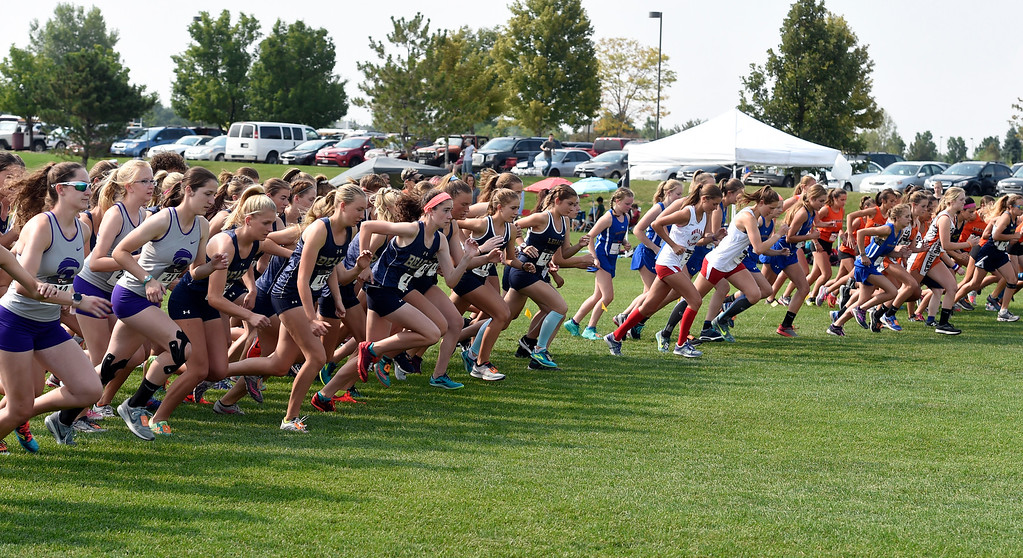. BROOMFIELD, CO: August 17:  The 5K girls start their race at the Legacy Lightning Invitational cross country race in Broomfield on August 17, 2018. (Photo by Cliff Grassmick/Staff Photographer).