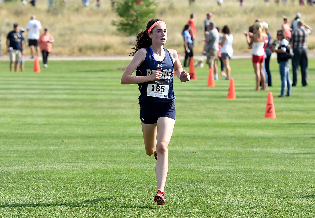 . BROOMFIELD, CO: August 17:  Isabelle Prosceno, of Palmer Ridge, won the 5K during the Legacy Lightning Invitational cross country race in Broomfield on August 17, 2018. (Photo by Cliff Grassmick/Staff Photographer).