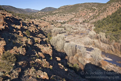 Evening light in the Gila River Canyon, New Mexico, March 2010.