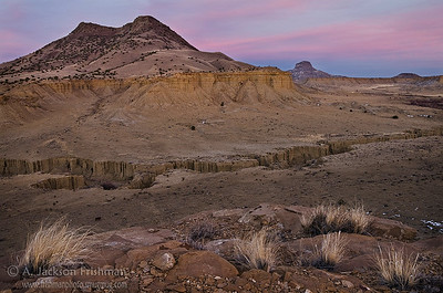 Sunset over Cerro Cuate and Cabezon Peak, Rio Puerco Valley, New Mexico, February 2011.