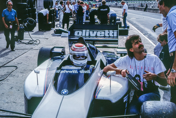 Nelson Piquet and Gordon Murray with the Brabham BT54