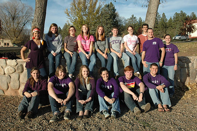 (l-r) Claire Parker, Shelby Meier, Whitney Peters, Christa Owen, Aaron Lobaugh, Thomas Mitchell, Alexis Branaman, Alicia Hawley, Ellen Munsterman, Alison Panza, Kelsey Hawley, Blake Billings, Allison McCollum, Wesley Gentle, Travis Kennedy, and Kathryne Tankersley