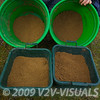 Close-up of two contrasting groundbait mixes. The buckets contain the excess spare bait, the bowls contain measured quantities to form the initial feed. © 2009 Brian Gay