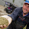 Will Raison shoot 180810. Cage feeder with soft pellets and fishmeal for bream and carp. © 2010 Brian Gay