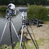 Two 5D MK II cameras on Gitzo tripods, one with a Gitzo 1380 head the other a Gitzo levelling head and Kirk BH3 head. Rode Video Mic, dead cat wind gag, Genus mate boxes.