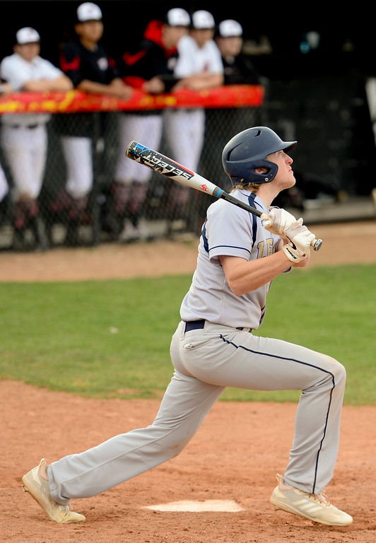 . BOULDER, CO - APRIL 16:Legacy High School\'s Cale Claridge (No. 17) hits a home run against Fairview High School in Boulder on April 16, 2019. (Photo by Matthew Jonas/Staff Photographer)