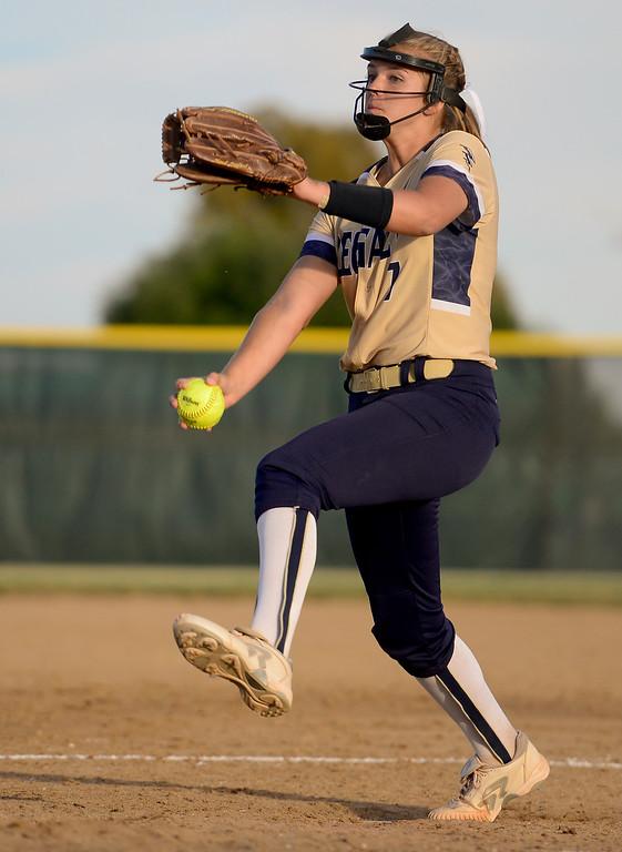 . LOVELAND, CO - SEPTEMBER 27:Legacy High School\'s Hannah Farley (No. 7) pitches against Loveland High School in Loveland on Sept. 27, 2018. (Photo by Matthew Jonas/Staff Photographer)