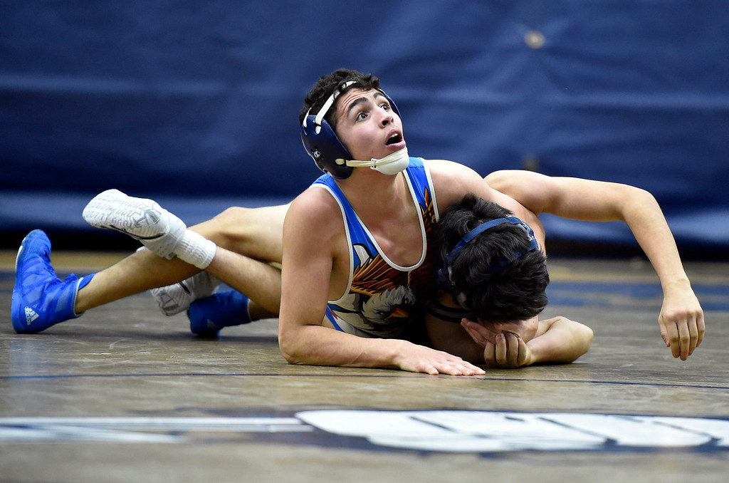 . BROOMFIELD, CO - JANUARY 09, 2019: Broomfield High School\'s Presley Madril works to pin Alex Almanza during a 120-pound wrestling match against Legacy on Wednesday in Broomfield. More photos: BoCoPreps.com (Photo by Jeremy Papasso/Staff Photographer)