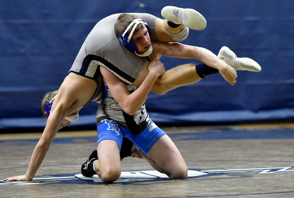 . BROOMFIELD, CO - JANUARY 09, 2019: Broomfield High School\'s Andy Johnson wrestles Kaeden Rasmussen during a 132-pound wrestling match against Legacy on Wednesday in Broomfield. More photos: BoCoPreps.com (Photo by Jeremy Papasso/Staff Photographer)