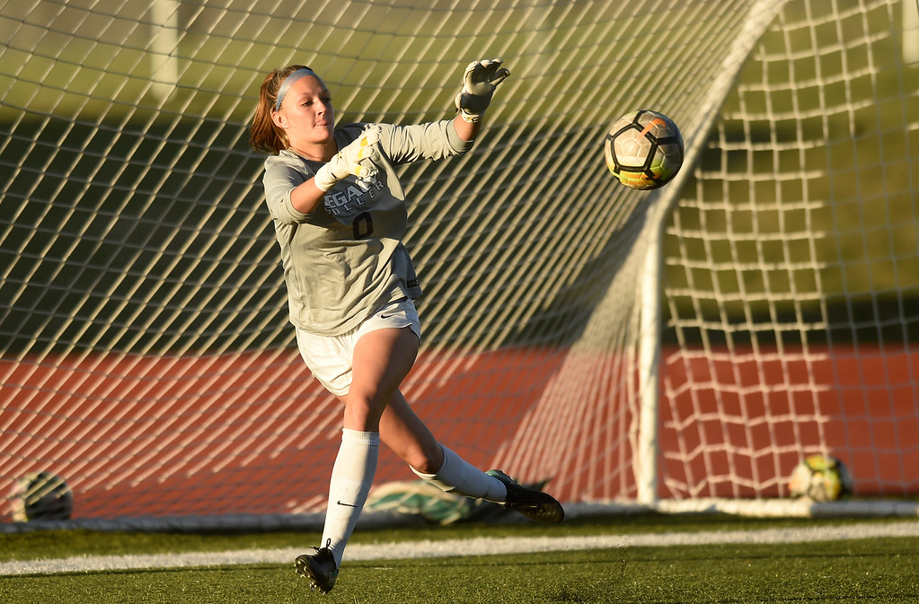 . Legacy High School\'s Makenna Gottschalk makes a save during a CHSAA first round playoff game against Heritage on Tuesday at the North Stadium in Westminster. More photos: BoCoPreps.com Jeremy Papasso/ Staff Photographer 05/08/2018