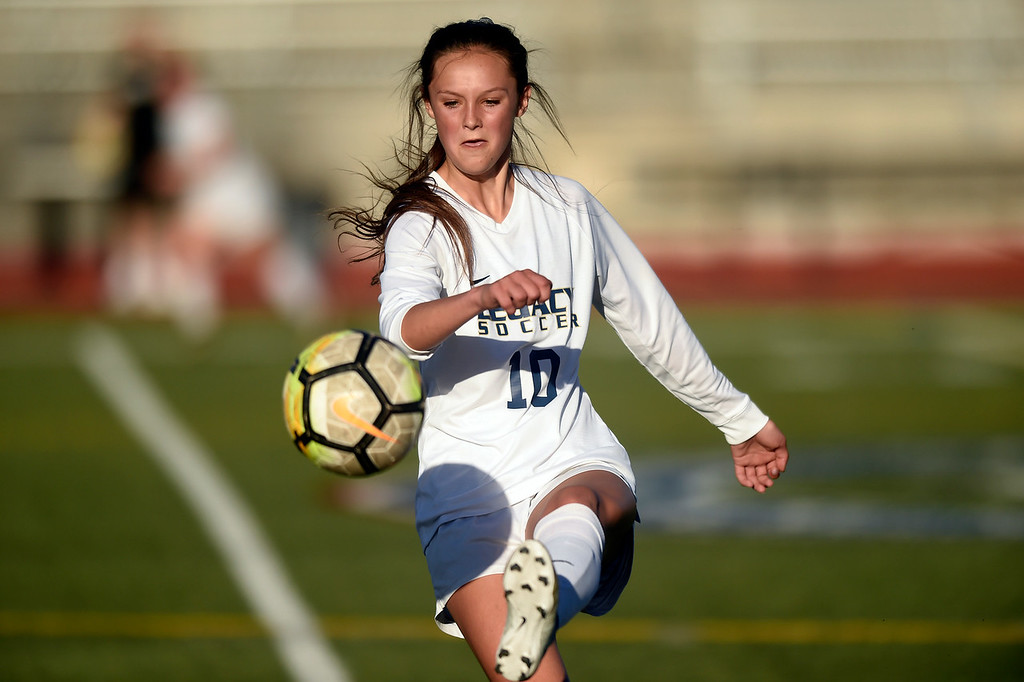 . Legacy High School\'s Gracie Armstrong during a CHSAA first round playoff game against Heritage on Tuesday at the North Stadium in Westminster. More photos: BoCoPreps.com Jeremy Papasso/ Staff Photographer 05/08/2018