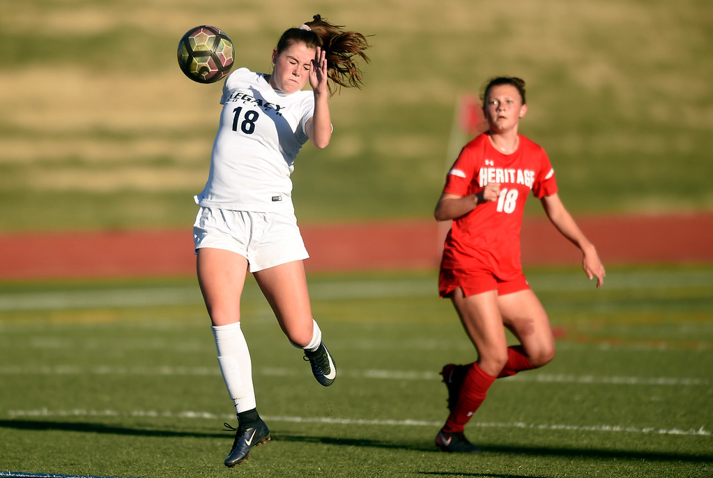 . Legacy High School\'s Alexis Gaffney stops a ball during a CHSAA first round playoff game against Heritage on Tuesday at the North Stadium in Westminster. More photos: BoCoPreps.com Jeremy Papasso/ Staff Photographer 05/08/2018