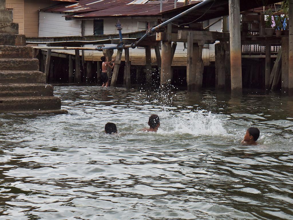 Playing in the street - Water Village, Bandar Seri Bagawan, Brunei