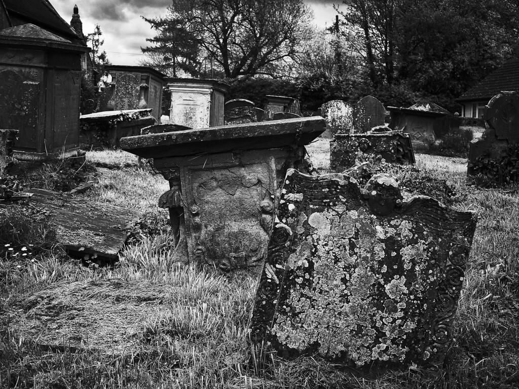 Tilted graves, Westbury on Severn