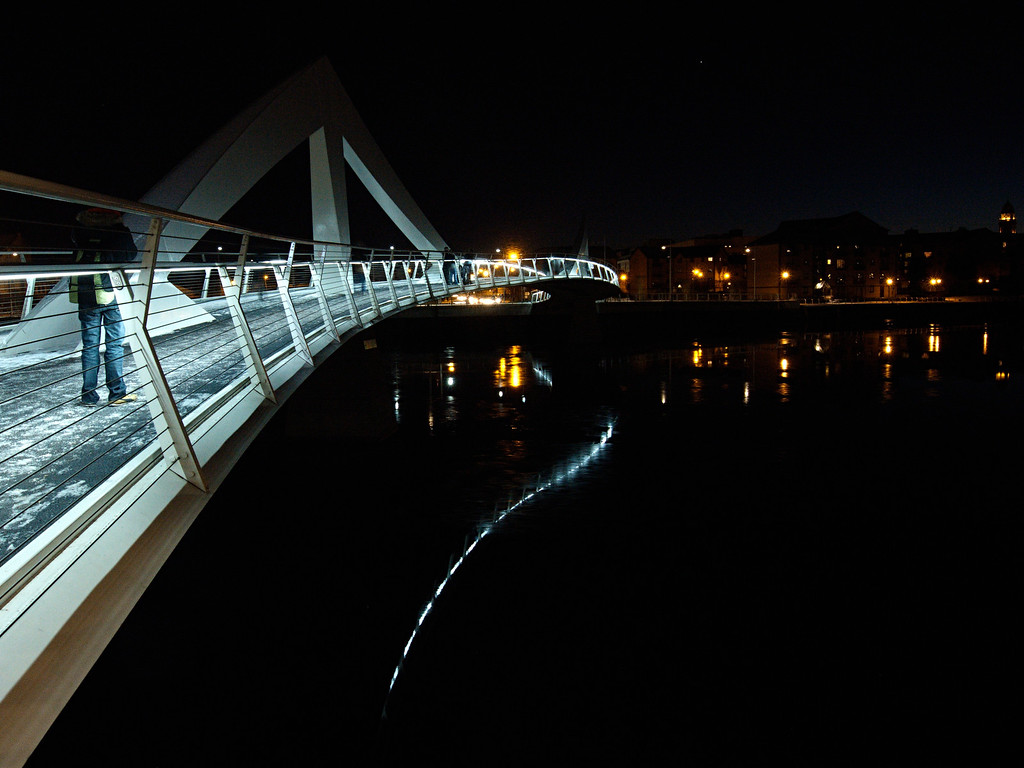 Tradeston Bridge in lights