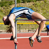 Raider Kayla Lindquist on her way to first place in the high jump. (Student Voice Photo/Jeffrey Farrar)