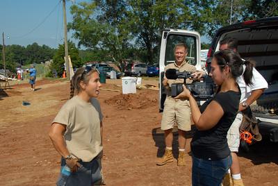Indra Sibal Palmer interviews a volunteer.