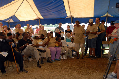 09 08-04 2:00pm Crowd gathered at one end of tent for dedication and recognition program. crl