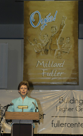 09 --30 Linda Fuller speaks at Celebration Kickoff for Millard Fuller Legacy Build (Lanett, AL)
