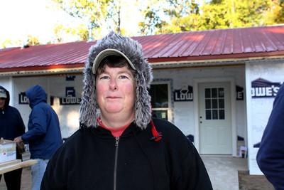 """2011 10-20  Anything to stay warm. Karen """"Toolie"""" Warkentien."""