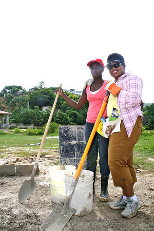Beverly Black with future Fuller Center homeowner Kerline Jacques.