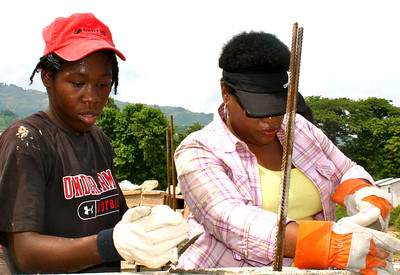 Beverly Black works alongside the Haitian labor force.